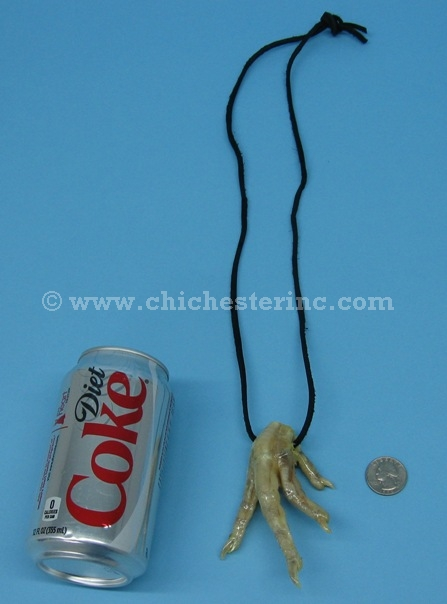 These are real chicken feet attached to a black leather cord. The feet are  about 4